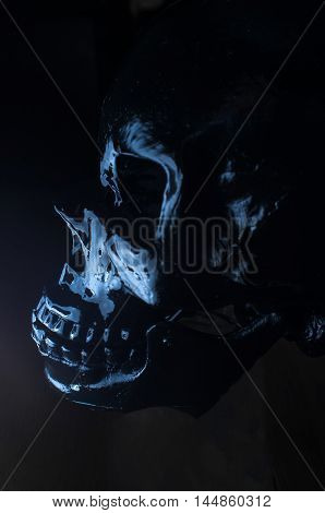 Terrifying halloween skull profile for October holiday background