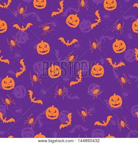 Seamless violet Halloween background with orange pumpkins, bats and spiders, illustration.