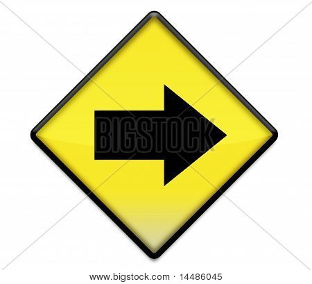 Yellow Road Sign Graphic With Arrow Right