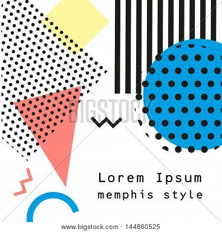 Retro vintage 80s or 90s fashion style. Memphis cards. Trendy geometric elements. Modern abstract design poster, cover, card design. Vector illustration.