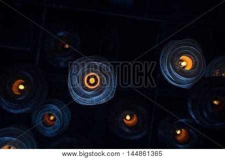 Decorative antique style filament light bulb background