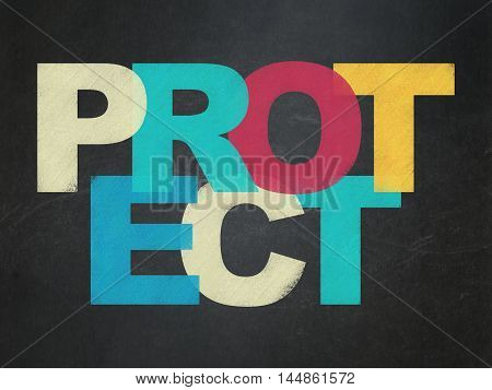 Privacy concept: Painted multicolor text Protect on School board background, School Board