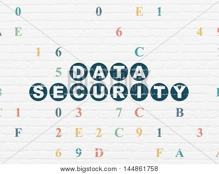 Safety concept: Painted blue text Data Security on White Brick wall background with Hexadecimal Code