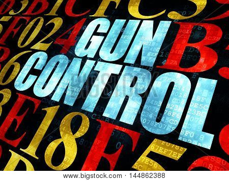 Safety concept: Pixelated blue text Gun Control on Digital wall background with Hexadecimal Code