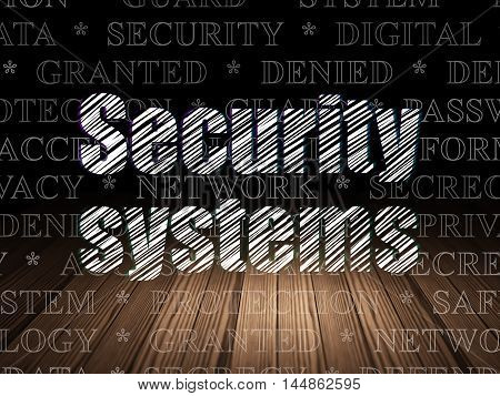 Safety concept: Glowing text Security Systems in grunge dark room with Wooden Floor, black background with  Tag Cloud