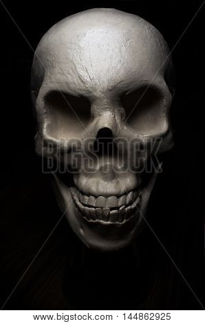 Terrifying angry halloween skull for October holiday background