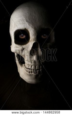 Terrifying halloween skull with eyes for October holiday background