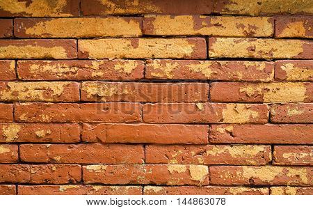 Old brown brick wall abstract background pattern.