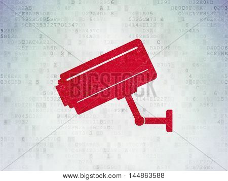 Security concept: Painted red Cctv Camera icon on Digital Data Paper background