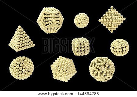 Gold nanoparticles of different shapes 3D illustration
