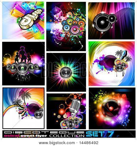 9 Abstract Music Backgrounds for Discotheque Flyer with a lot of design elements - Set 7