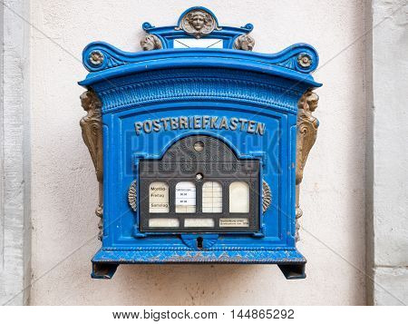 Post box blue old German traditional one