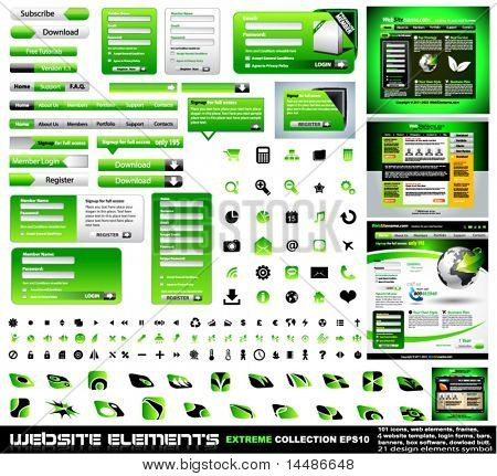 Web design elements extreme collection - frames, bars, 101 icons, bannes, login forms, buttons.4 websites,4software boxes and so on!