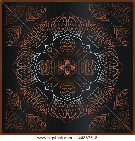 abstract floral mandala ornament of interwoven lines and brown frame on a black background