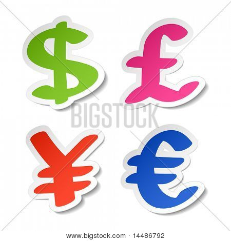 Dollar, euro, yen and pound stickers. Vector.