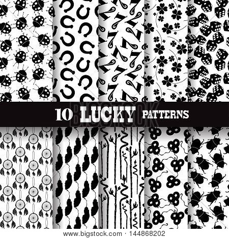 set of 10 seamless patterns with principal symbols of luck, design elements
