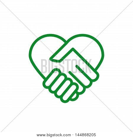 The sign of the heart, in the form of a handshake.