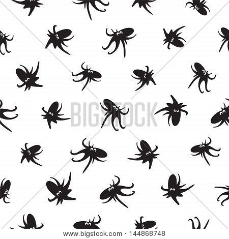 Seamless pattern. Vector octopus. Black on white