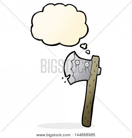 cartoon axe with thought bubble
