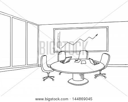 Office meeting room interior black white graphic art sketch illustration vector