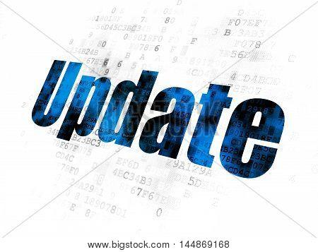 Web development concept: Pixelated blue text Update on Digital background