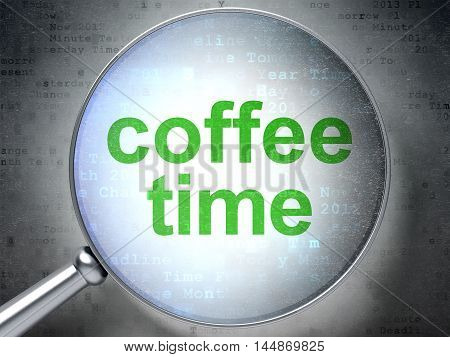 Time concept: magnifying optical glass with words Coffee Time on digital background, 3D rendering