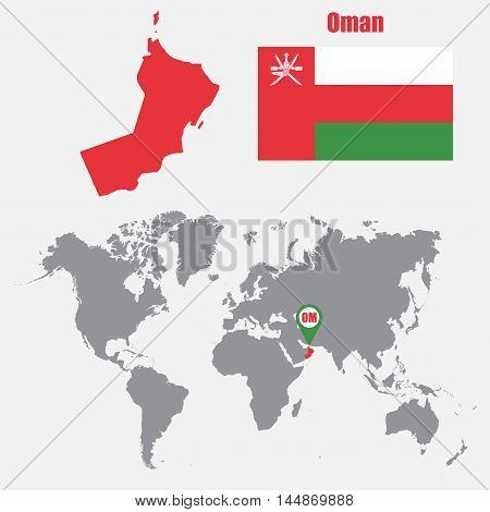 Oman map on a world map with flag and map pointer. Vector illustration