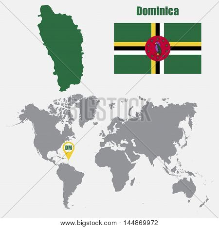 Dominica map on a world map with flag and map pointer. Vector illustration