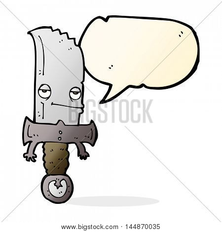 knife cartoon character with speech bubble