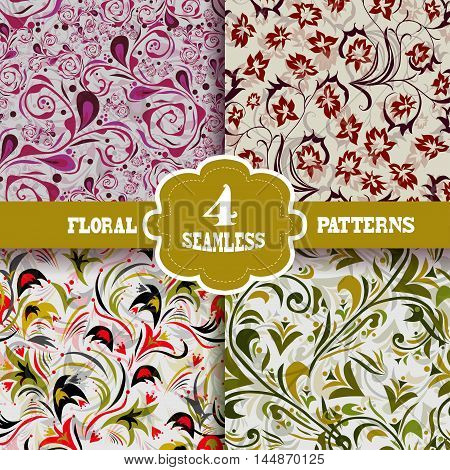 Set of 4 elegant seamless patterns with hand drawn decorative flowers design elements. Beautiful floral backgrounds. Floral patterns for wedding invitations greeting cards scrapbooking print gift wrap manufacturing.