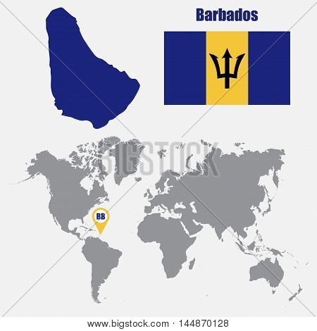 Barbados map on a world map with flag and map pointer. Vector illustration