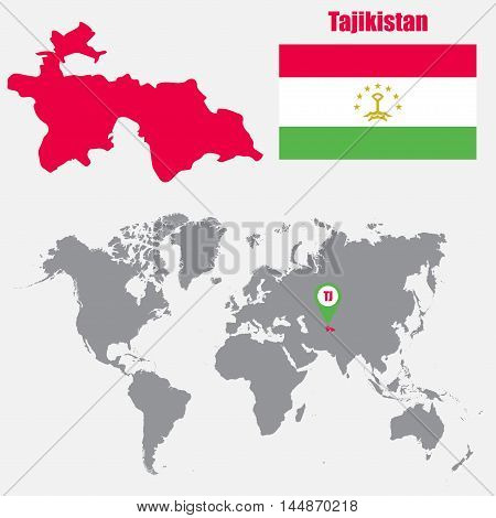Tajikistan map on a world map with flag and map pointer. Vector illustration