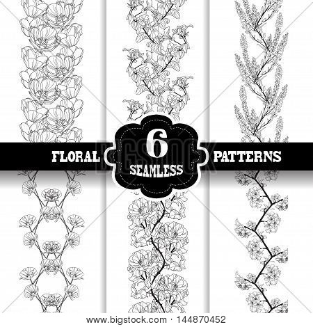Set of 6 elegant seamless patterns with hand drawn decorative flowers design elements. Beautiful floral backgrounds. Floral patterns for wedding invitations greeting cards scrapbooking print gift wrap manufacturing.