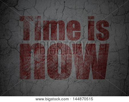 Timeline concept: Red Time is Now on grunge textured concrete wall background