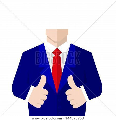 Man in suit shows a sign Thumb Up. Vector, flat, illustration