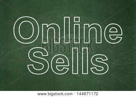 Marketing concept: text Online Sells on Green chalkboard background