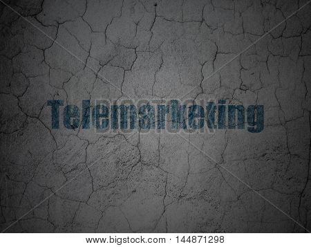Advertising concept: Blue Telemarketing on grunge textured concrete wall background