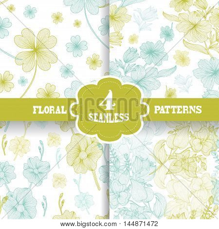 Set of 4 elegant seamless patterns with hand drawn decorative flowers design elements. Floral patterns for wedding invitations greeting cards scrapbooking print gift wrap manufacturing.