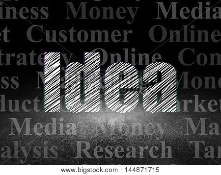 Marketing concept: Glowing text Idea in grunge dark room with Dirty Floor, black background with  Tag Cloud