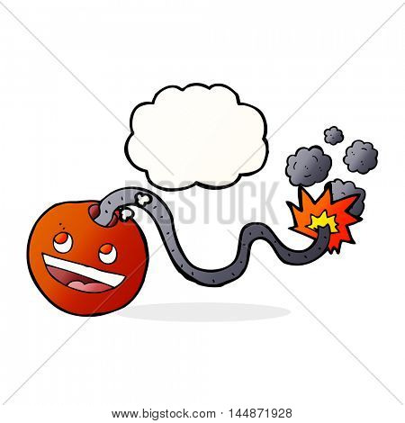 cartoon burning bomb with thought bubble