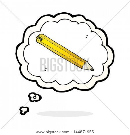 cartoon pencil with thought bubble