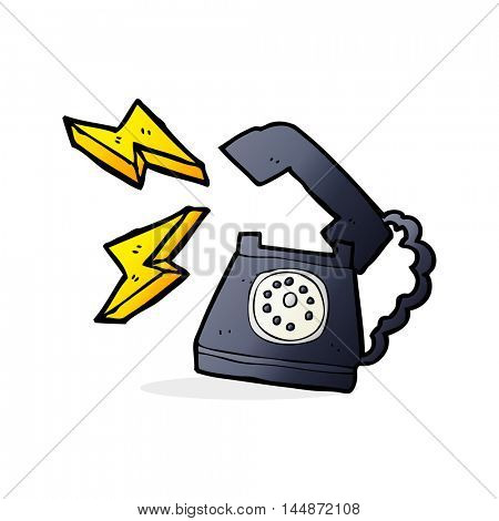 cartoon ringing telephone with thought bubble