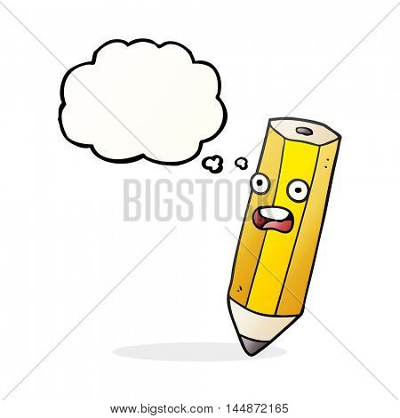 happy freehand drawn thought bubble cartoon pencil