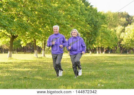 Happy fit senior couple jogging in  park