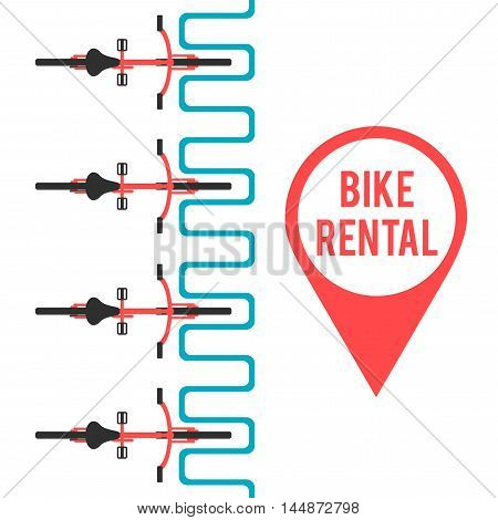 Bike rental. Flat vector illustration. Banner template on city bike hire. Pin of location bicycle