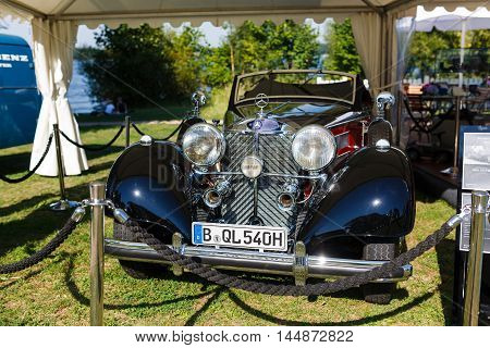 Potsdam Germany - August 27 2016: Retro car Mersedes at the open motor Rally Hamburg-Berlin Klassik the date of August 25-27