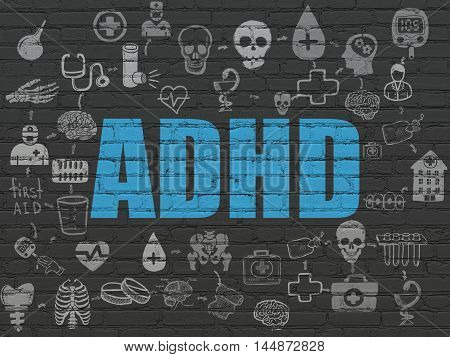 Medicine concept: Painted blue text ADHD on Black Brick wall background with Scheme Of Hand Drawn Medicine Icons