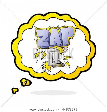 freehand drawn thought bubble cartoon electrical switch zapping