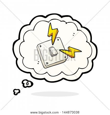 freehand drawn thought bubble cartoon sparking electric light switch