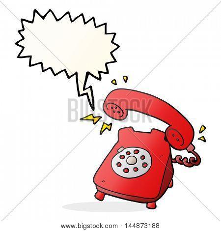 freehand drawn speech bubble cartoon ringing telephone